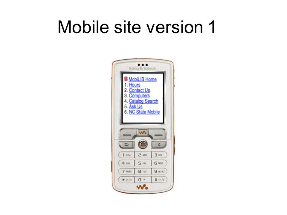Mobile site version 1
