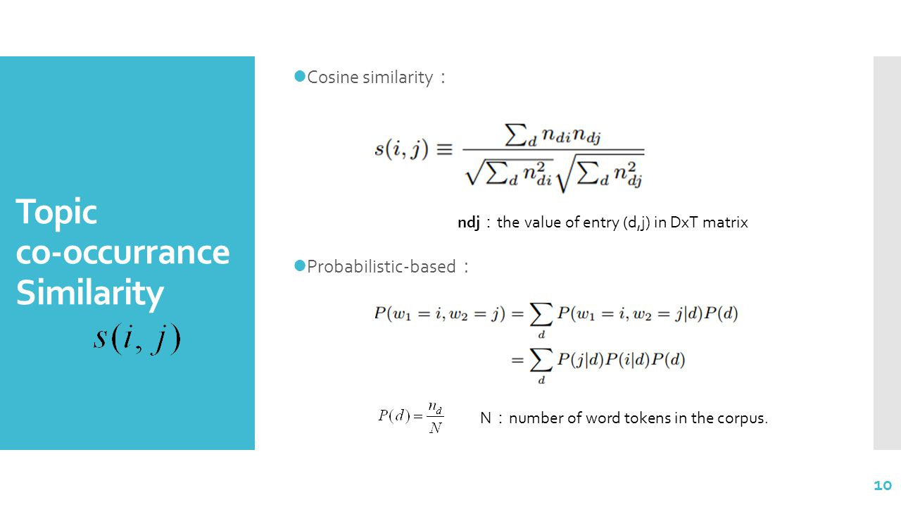 Topic co-occurrance Similarity Cosine similarity : Probabilistic-based : 10 N : number of word tokens in the corpus.