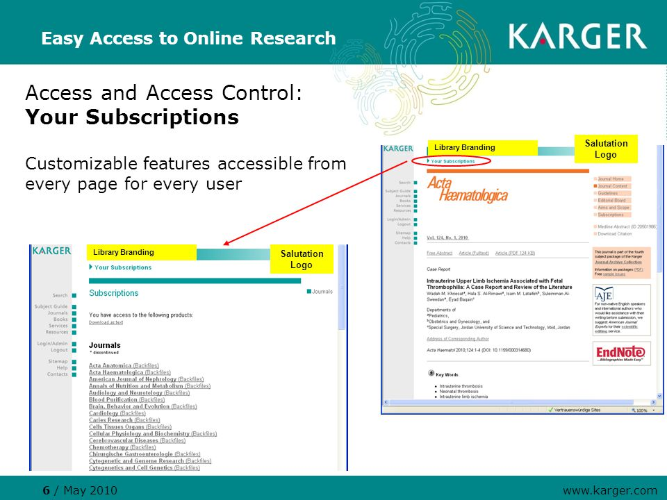 Access and Access Control: Your Subscriptions Customizable features accessible from every page for every user Easy Access to Online Research 6 / May 2