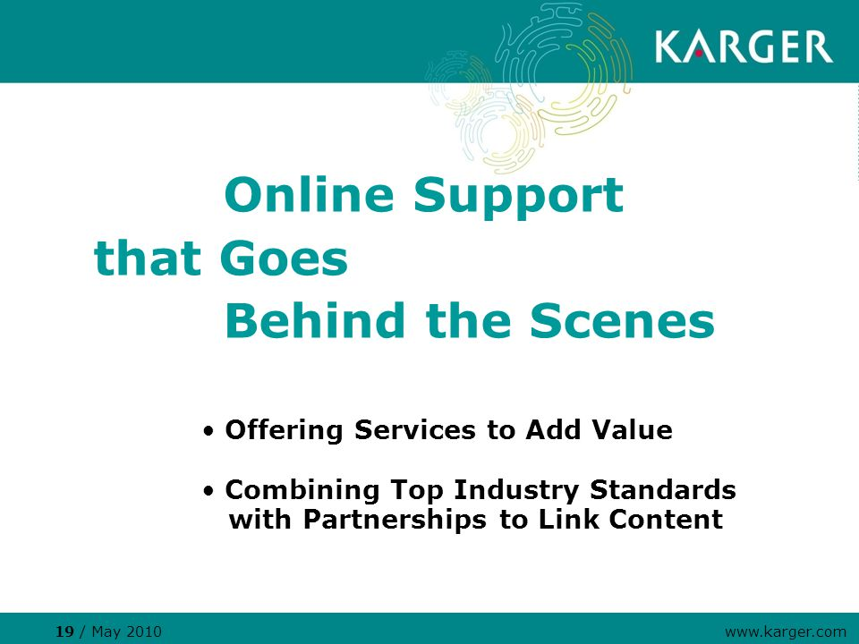 Offering Services to Add Value Combining Top Industry Standards with Partnerships to Link Content Online Support that Goes Behind the Scenes 19 / May 2010 www.karger.com