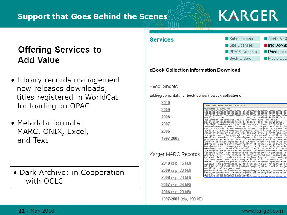 Support that Goes Behind the Scenes Offering Services to Add Value Library records management: new releases downloads, titles registered in WorldCat for loading on OPAC Metadata formats: MARC, ONIX, Excel, and Text 21 / May 2010 www.karger.com Dark Archive: in Cooperation with OCLC