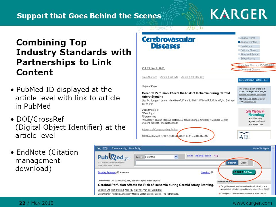 Support that Goes Behind the Scenes Combining Top Industry Standards with Partnerships to Link Content PubMed ID displayed at the article level with link to article in PubMed DOI/CrossRef (Digital Object Identifier) at the article level EndNote (Citation management download) 22 / May 2010 www.karger.com