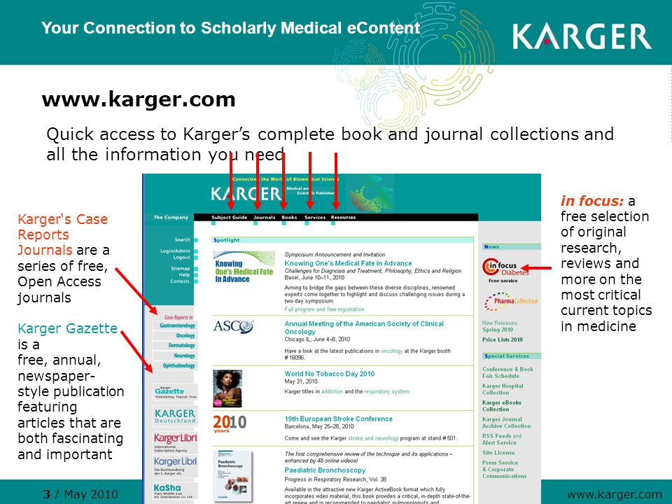 www.karger.com Your Connection to Scholarly Medical eContent 3 / May 2010 www.karger.com Karger's Case Reports Journals are a series of free, Open Access journals Karger Gazette is a free, annual, newspaper- style publication featuring articles that are both fascinating and important in focus: a free selection of original research, reviews and more on the most critical current topics in medicine Quick access to Karger's complete book and journal collections and all the information you need