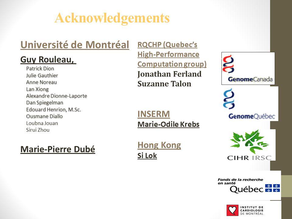 Université de Montréal Guy Rouleau, Patrick Dion Julie Gauthier Anne Noreau Lan Xiong Alexandre Dionne-Laporte Dan Spiegelman Edouard Henrion, M.Sc. O