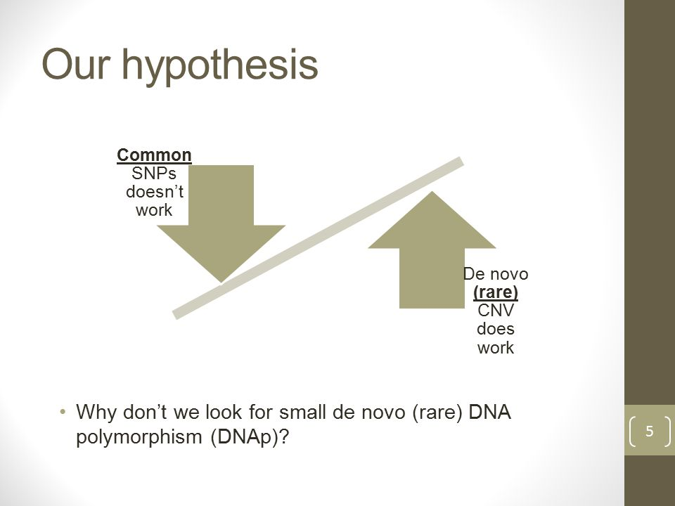 Our hypothesis Why don't we look for small de novo (rare) DNA polymorphism (DNAp).