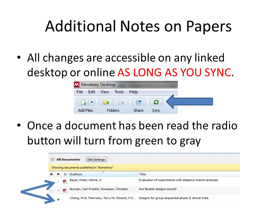 Additional Notes on Papers All changes are accessible on any linked desktop or online AS LONG AS YOU SYNC.