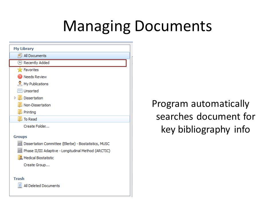 Managing Documents Program automatically searches document for key bibliography info