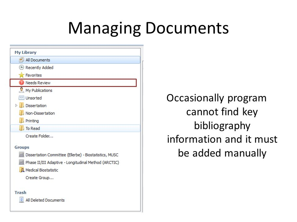 Managing Documents Occasionally program cannot find key bibliography information and it must be added manually