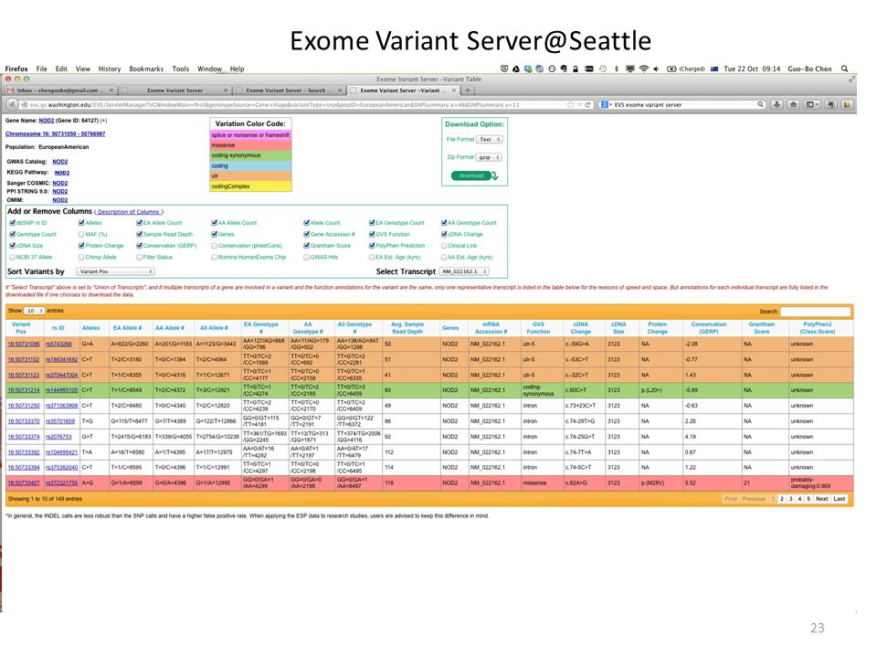 23 Exome Variant Server@Seattle
