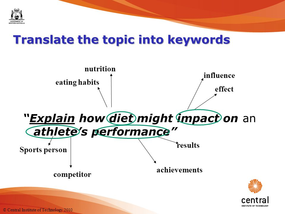 4 Translate the topic into keywords Explain how diet might impact on an athlete's performance nutrition eating habits influence effect Sports person competitor results achievements © Central Institute of Technology 2010