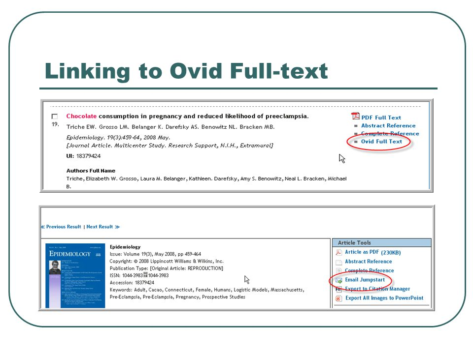 Linking to Ovid Full-text