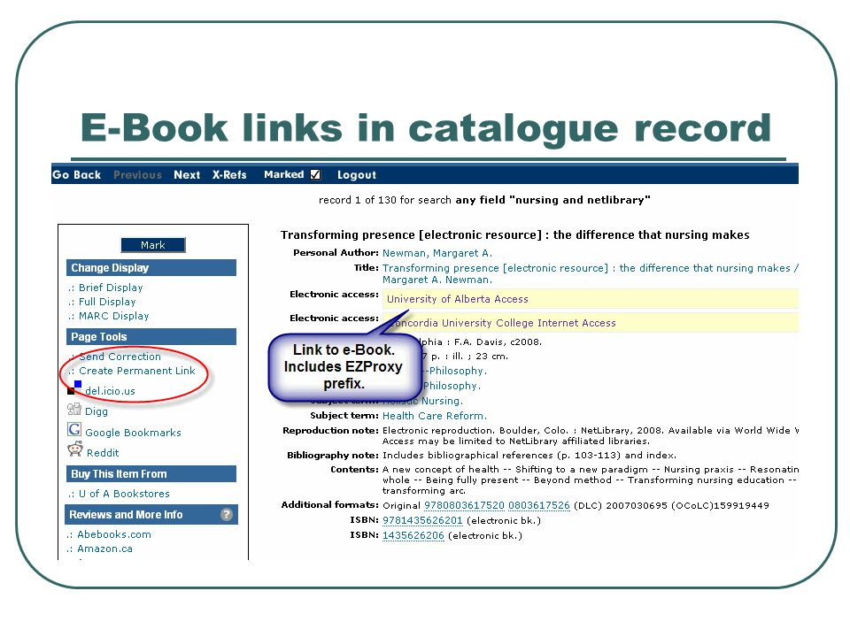 E-Book links in catalogue record