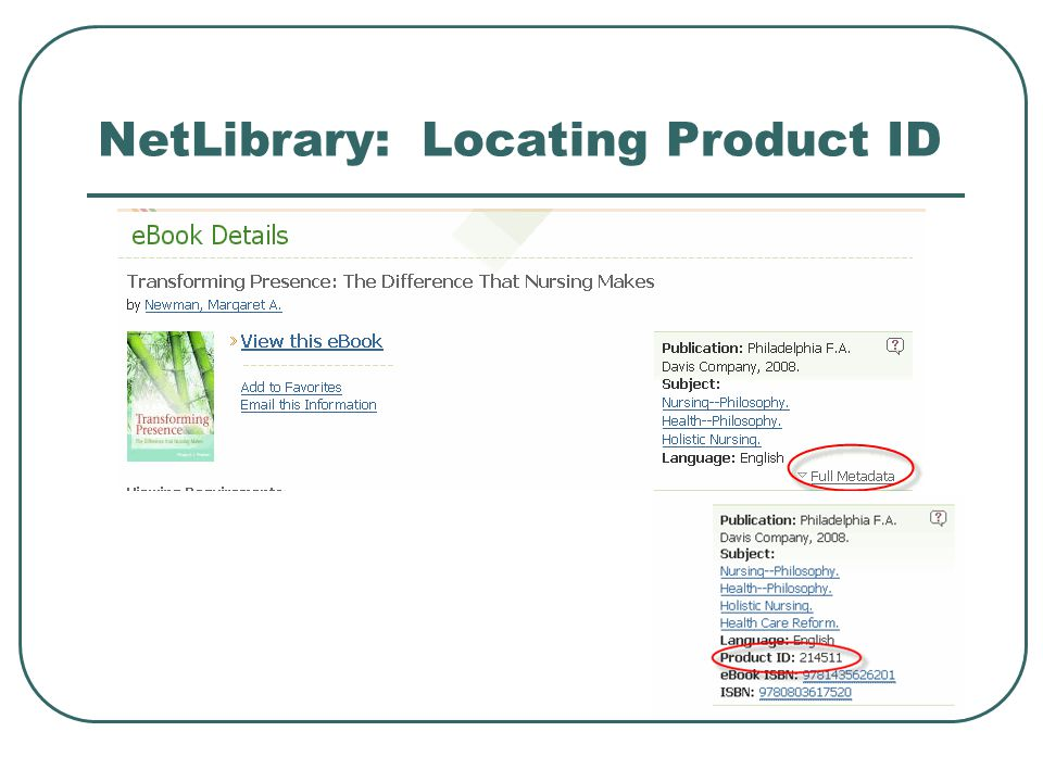 NetLibrary: Locating Product ID