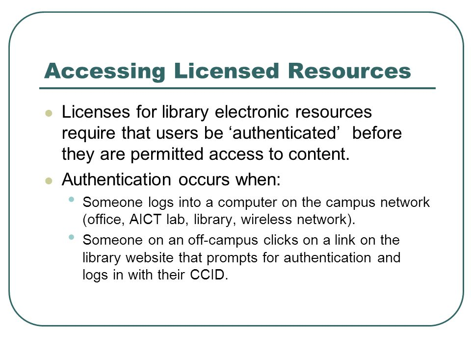 Library E-Resources Online databases Mostly licensed Some freely available, e.g.
