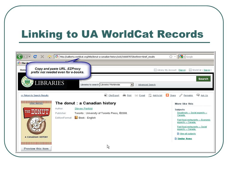 Linking to UA WorldCat Records