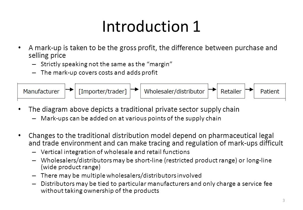 "Introduction 1 A mark-up is taken to be the gross profit, the difference between purchase and selling price – Strictly speaking not the same as the ""m"