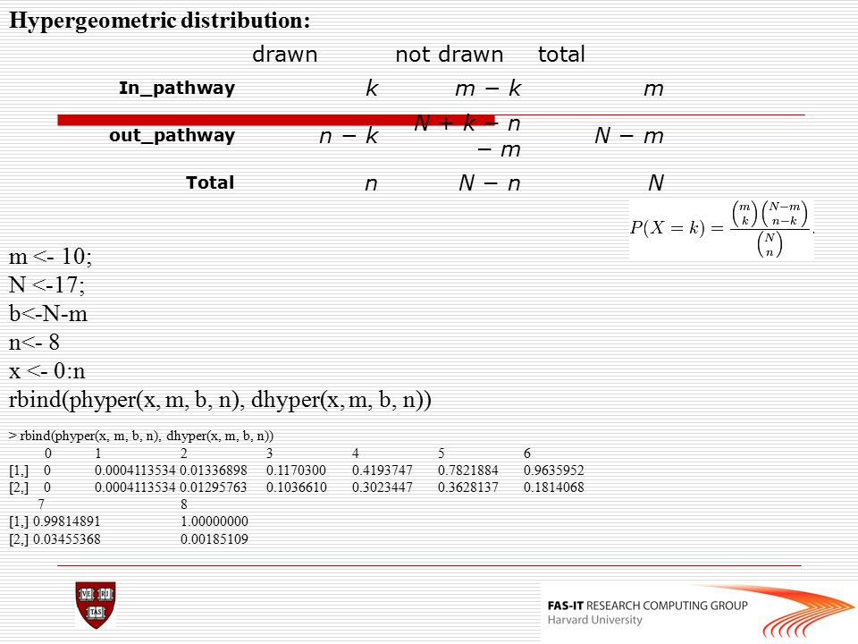 m <- 10; N <-17; b<-N-m n<- 8 x <- 0:n rbind(phyper(x, m, b, n), dhyper(x, m, b, n)) drawnnot drawntotal In_pathway km − km out_pathway n − k N + k −