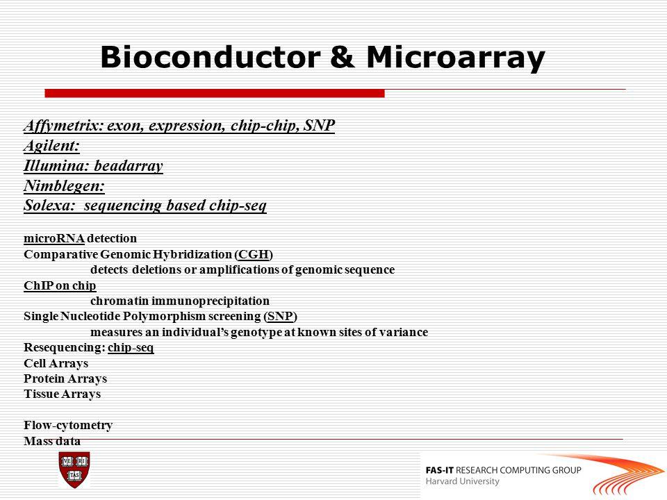 Bioconductor & Microarray Affymetrix: exon, expression, chip-chip, SNP Agilent: Illumina: beadarray Nimblegen: Solexa: sequencing based chip-seq micro