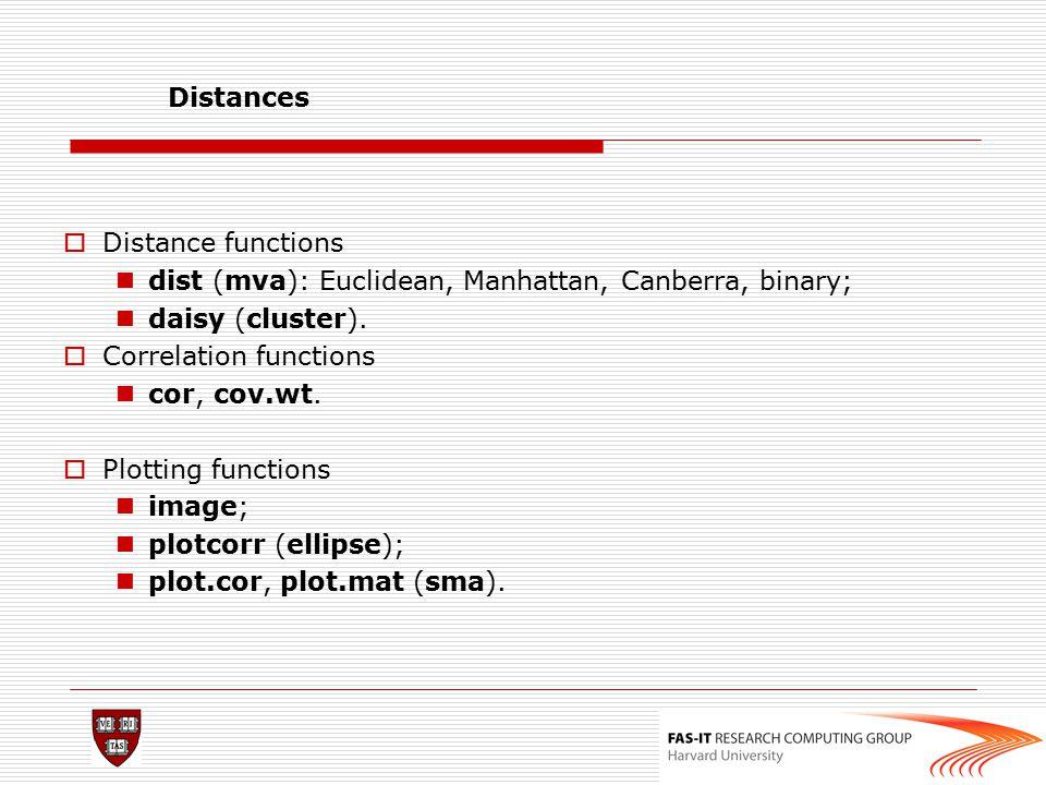Distances  Distance functions dist (mva): Euclidean, Manhattan, Canberra, binary; daisy (cluster).  Correlation functions cor, cov.wt.  Plotting fu