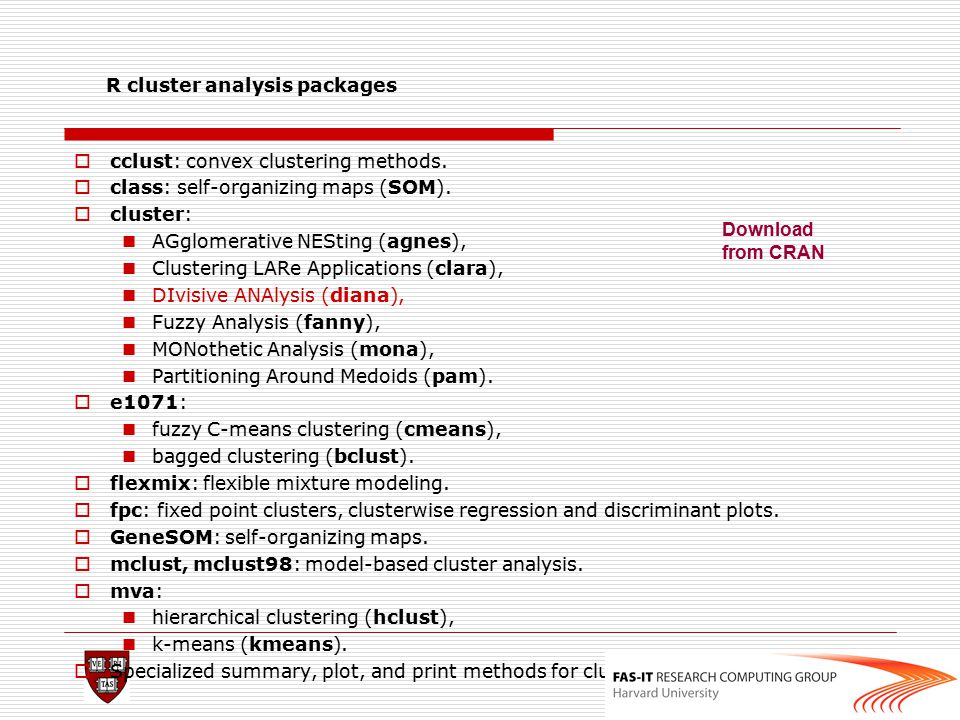 R cluster analysis packages  cclust: convex clustering methods.  class: self-organizing maps (SOM).  cluster: AGglomerative NESting (agnes), Cluste