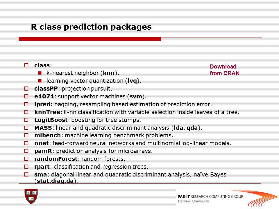 R class prediction packages  class: k-nearest neighbor (knn), learning vector quantization (lvq).  classPP: projection pursuit.  e1071: support vec