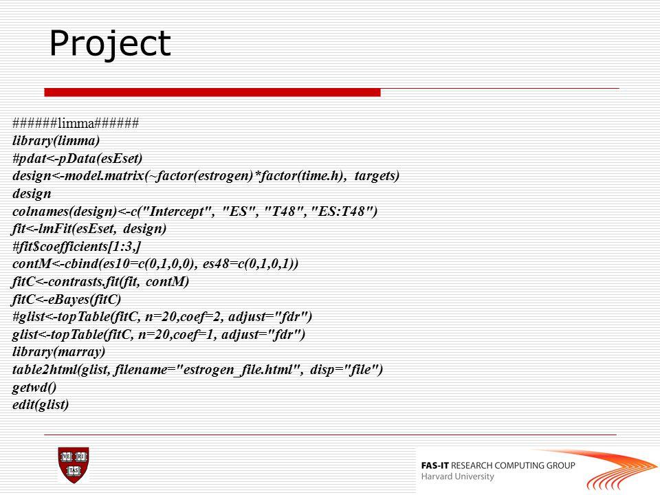 Project ######limma###### library(limma) #pdat<-pData(esEset) design<-model.matrix(~factor(estrogen)*factor(time.h), targets) design colnames(design)<
