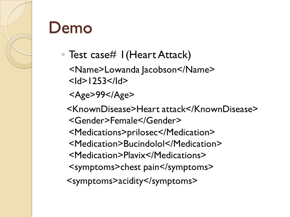 Demo ◦ Test case# 1(Heart Attack) Lowanda Jacobson 1253 99 Heart attack Female prilosec Bucindolol Plavix chest pain acidity