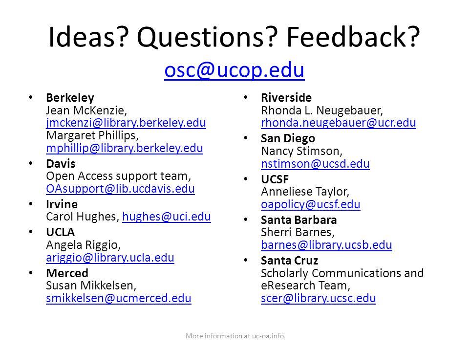 Ideas. Questions. Feedback.