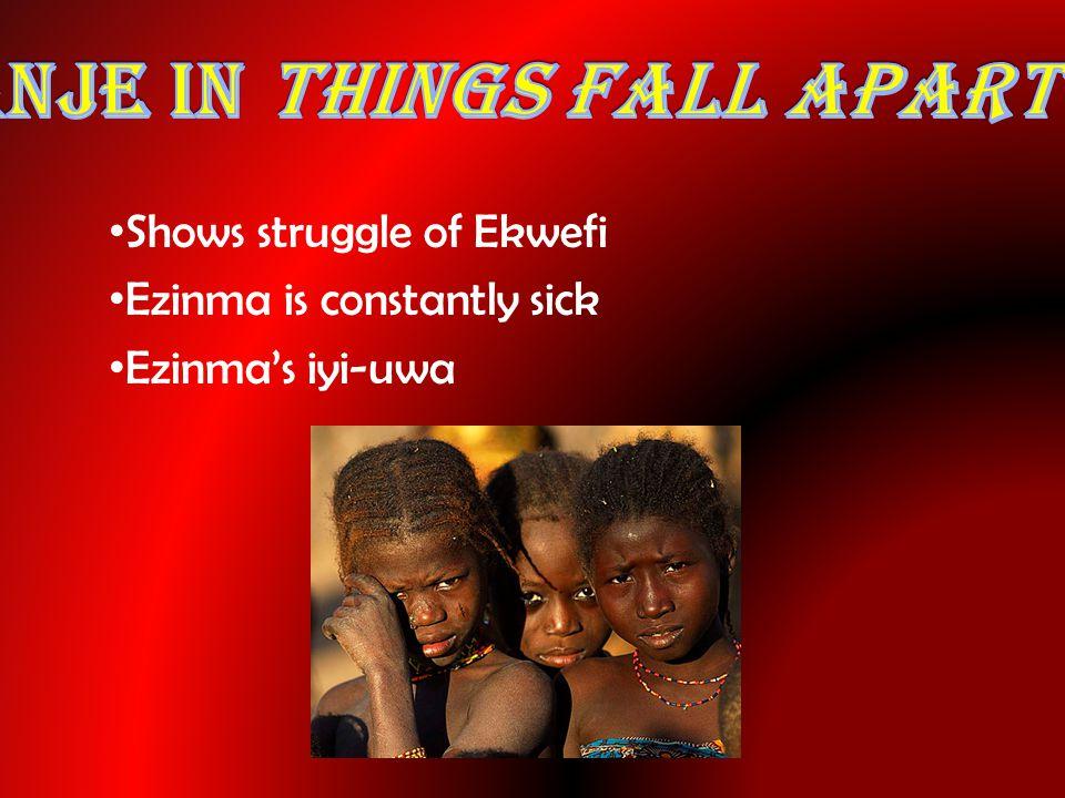 Shows struggle of Ekwefi Ezinma is constantly sick Ezinma's iyi-uwa
