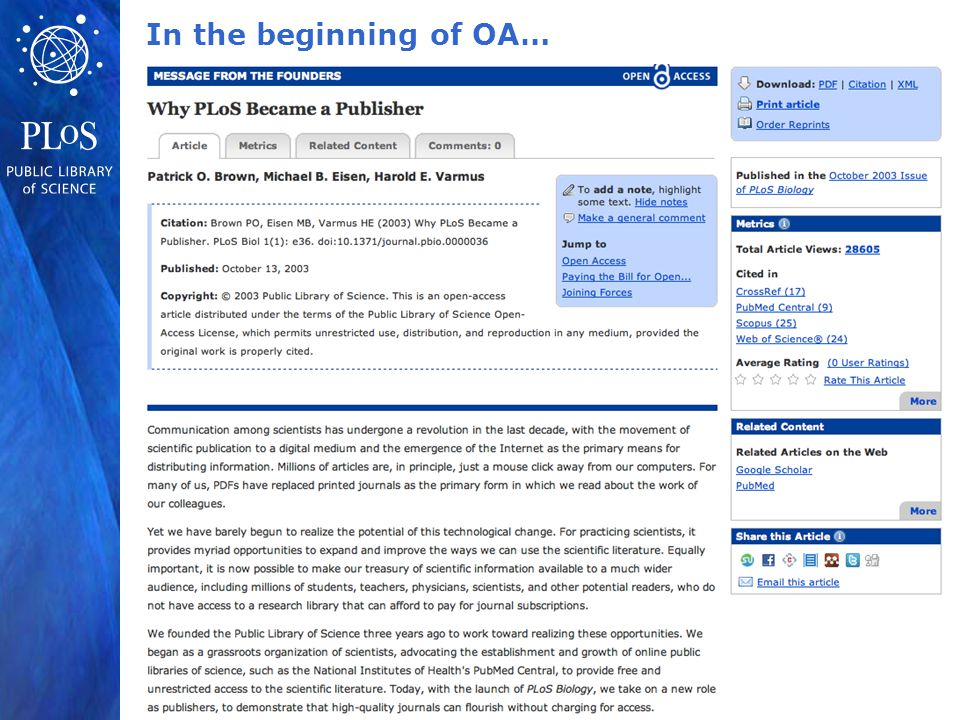 In the beginning of OA…