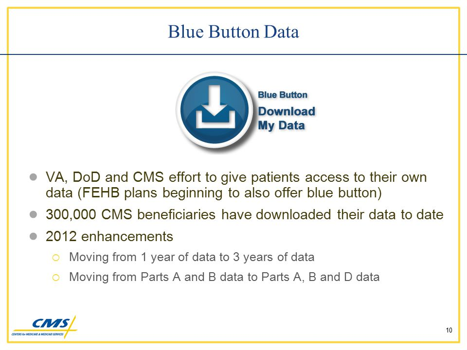 ● VA, DoD and CMS effort to give patients access to their own data (FEHB plans beginning to also offer blue button) ● 300,000 CMS beneficiaries have downloaded their data to date ● 2012 enhancements  Moving from 1 year of data to 3 years of data  Moving from Parts A and B data to Parts A, B and D data Blue Button Data 10