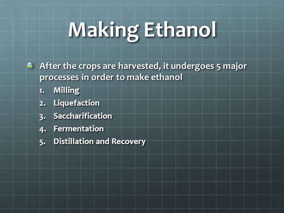 Making Ethanol After the crops are harvested, it undergoes 5 major processes in order to make ethanol 1.Milling 2.Liquefaction 3.Saccharification 4.Fermentation 5.Distillation and Recovery