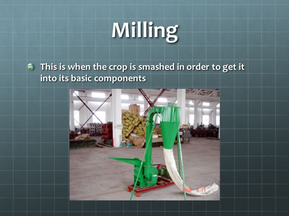 Milling This is when the crop is smashed in order to get it into its basic components