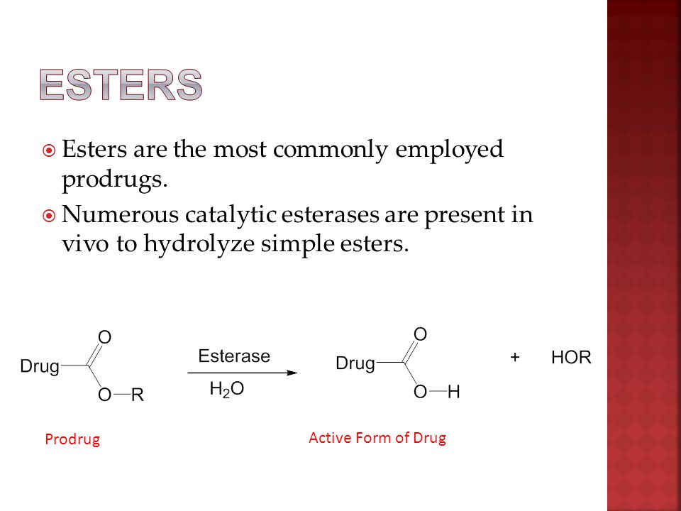  Esters are the most commonly employed prodrugs.