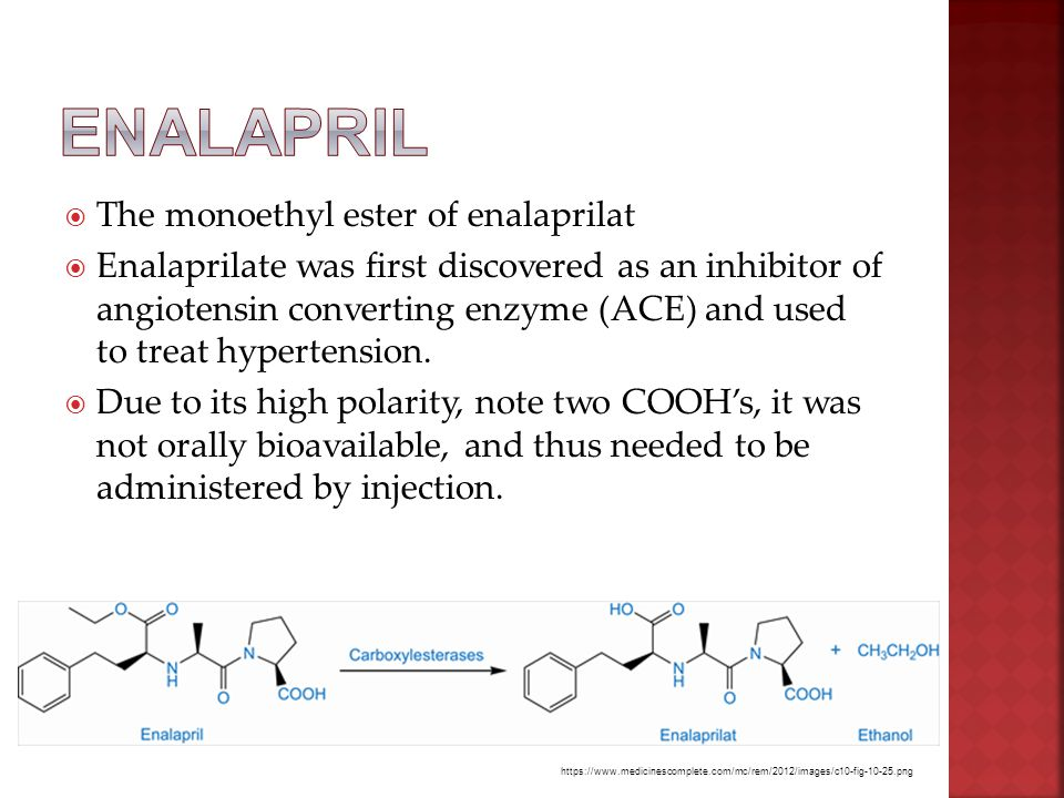  The monoethyl ester of enalaprilat  Enalaprilate was first discovered as an inhibitor of angiotensin converting enzyme (ACE) and used to treat hypertension.