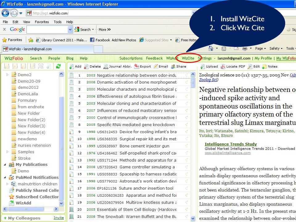 INSERT CITATIONS, CHOOSE A CITATION STYLE & CUSTOMIZE STYLE (WizCite), CITE WHILE YOU WRITE. 1.Install WizCite 2.Click Wiz Cite