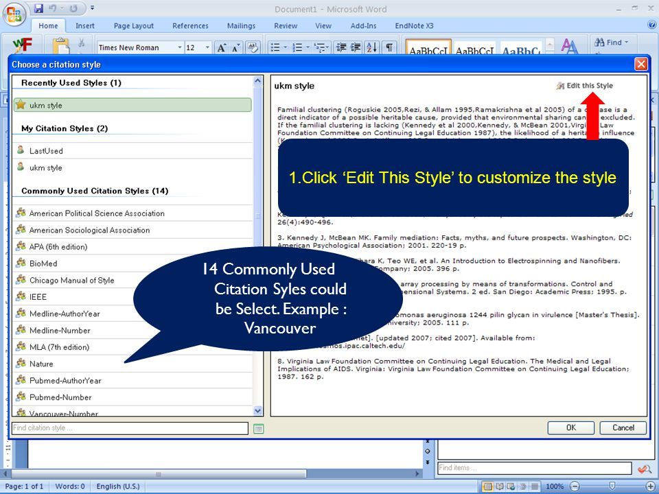 1.Click 'Edit This Style' to customize the style 14 Commonly Used Citation Syles could be Select.