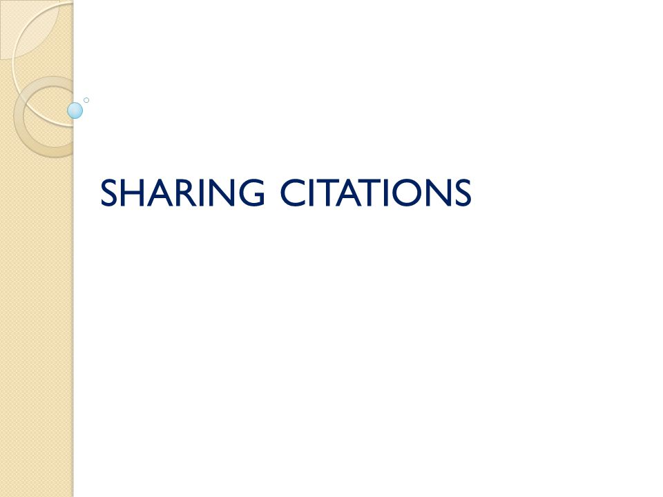 SHARING CITATIONS