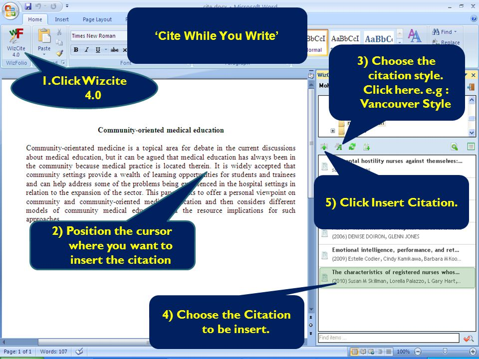 'Cite While Y ou Write' 1.Click Wizcite 4.0 4) Choose the Citation to be insert.