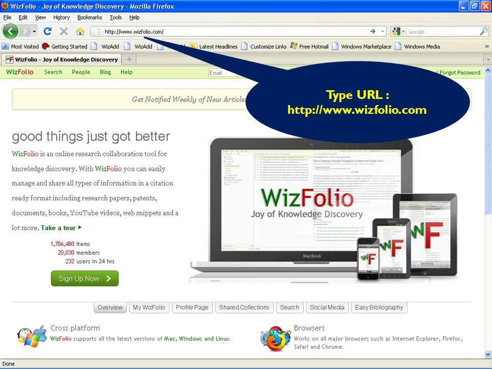 Type URL : http://www.wizfolio.com