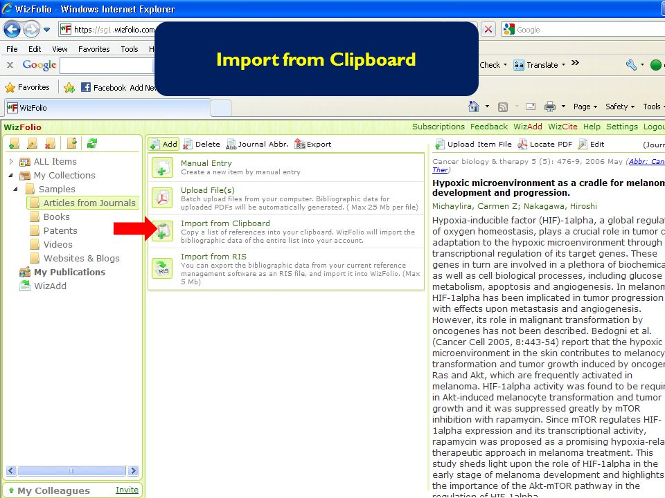 Import from Clipboard