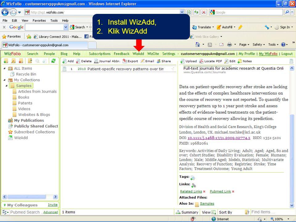 1.Install WizAdd, 2.Klik WizAdd