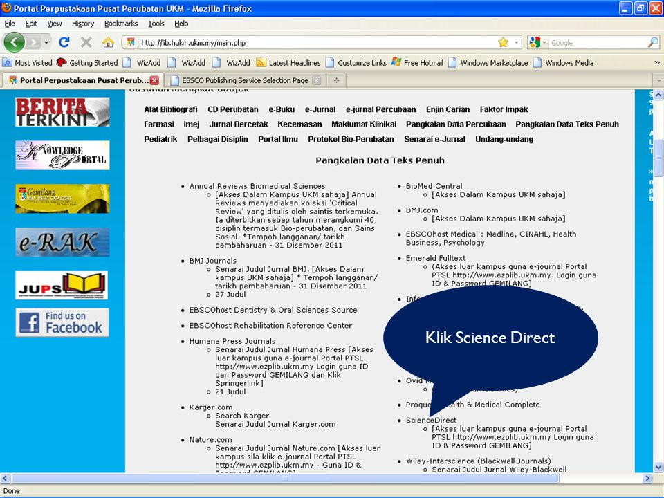 Klik Science Direct