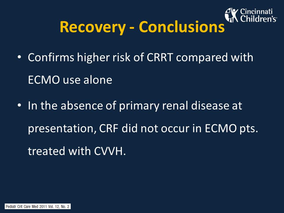 Recovery - Conclusions Confirms higher risk of CRRT compared with ECMO use alone In the absence of primary renal disease at presentation, CRF did not