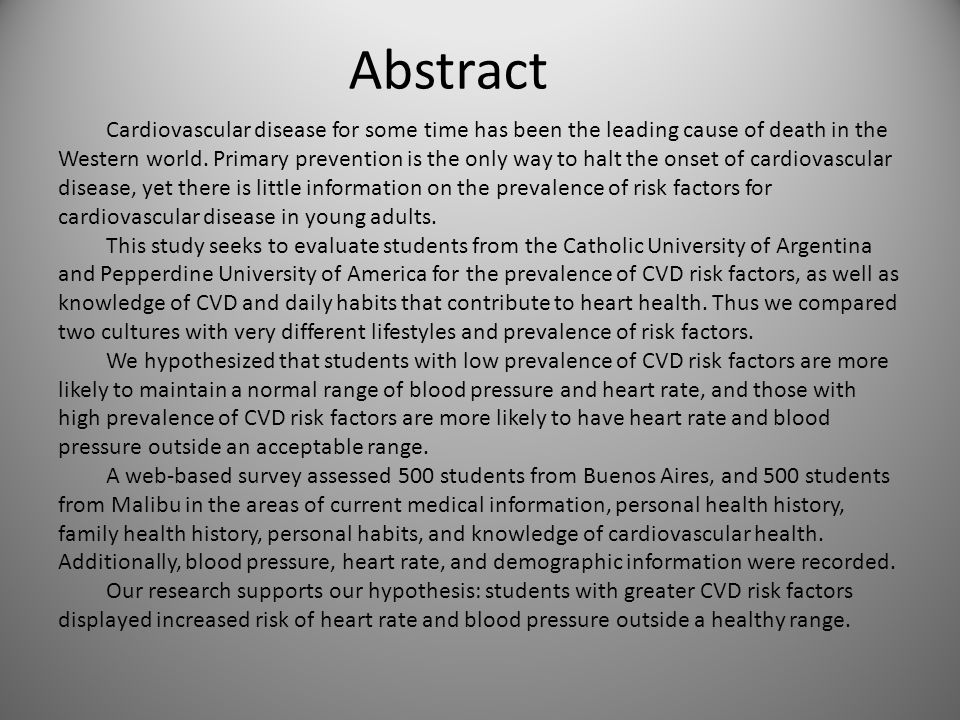 Abstract Cardiovascular disease for some time has been the leading cause of death in the Western world.