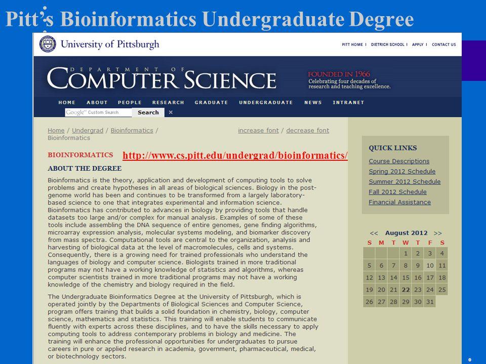 Pitt's Bioinformatics Undergraduate Degree http://www.cs.pitt.edu/undergrad/bioinformatics/