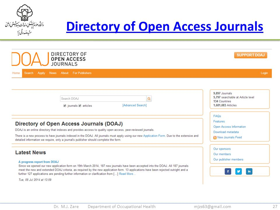 Directory of Open Access Journals Dr. M.J. Zare Department of Occupational Health mjzs63@gmail.com27