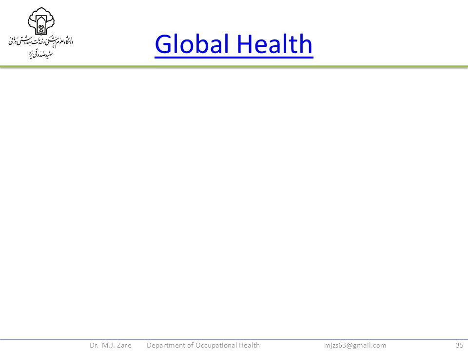 Global Health Dr. M.J. Zare Department of Occupational Health mjzs63@gmail.com35