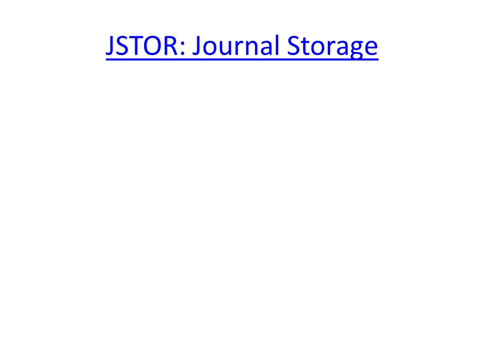 JSTOR: Journal Storage