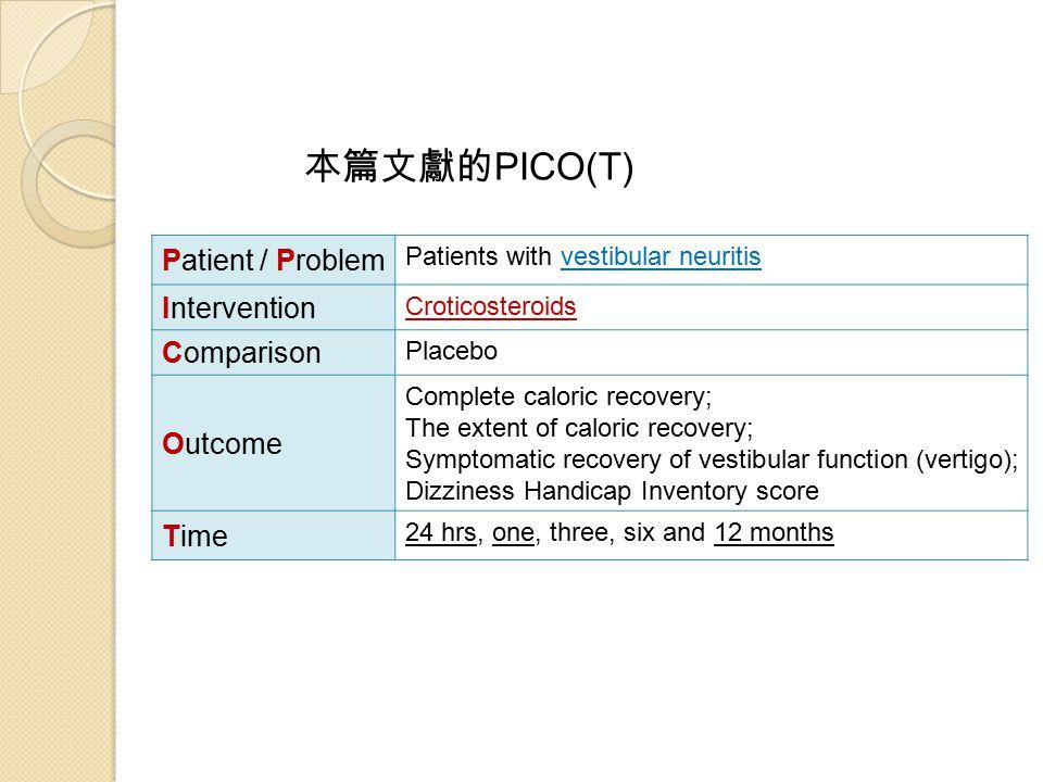 本篇文獻的 PICO(T) Patient / Problem Patients with vestibular neuritis Intervention Croticosteroids Comparison Placebo Outcome Complete caloric recovery; T